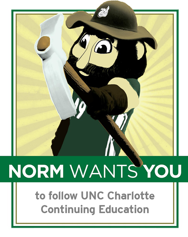 Norm wants you to follow UNC Charlotte Continuing Education on social media